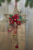 Christmas star on wooden background — Foto Stock