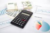 Calculator, charts, pen, business workplace — Stock Photo