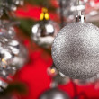 Decorated christmas tree with silver balls  — Stok fotoğraf #64035137