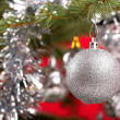 Decorated christmas tree with silver balls  — Stok fotoğraf #64035143