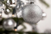 Decorated christmas tree with silver balls — Stock Photo