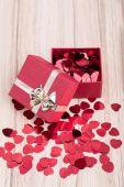 Red hearts confetti in box valentine love concept — Stock Photo