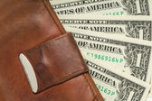 Leather wallet with money — Stock Photo