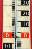 Red plastic retro thermometer — Stock Photo