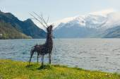 The handmade deer on a fjords shore — Stock Photo