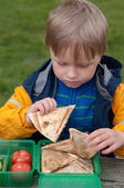 The child eating sandwiches — Stock Photo