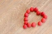 Raspberries heart — Stock Photo