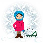 Little girl with sledge — Stock Vector