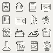 Home appliances icons: washing machine, teapot, Oven, TV, refrig — Stock Vector