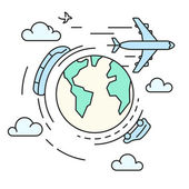 Travel around the earth, transport — Stock Vector
