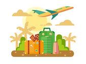 Summer Vacation, Travel flat illustration. — Stock Vector