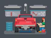 Механический ремонт автомобилей в гараже — Cтоковый вектор