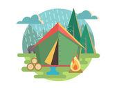 Outdoor Recreation Camping — Stock Vector