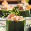 Fresh snack with smoked salmon and dill — Stock Photo #59111179