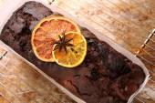 Chocolate cake on the grate removed from the oven — Stock Photo