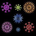 Rainbow snowflakes clip art on black — Stock Photo