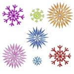 Rainbow snowflakes clip art on white — Stock Photo