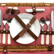 Old fashioned wicker picnic basket with cutlery — Stock Photo #66970113