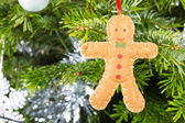Gingerbread man decoration on a christmas tree — Stock Photo