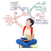 Pretty young student girl drawing about future planning — Stock Photo