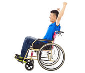 Handicapped man sitting on a wheelchair and shouting — Stock Photo