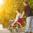 Young man sitting on a wheelchair with his brother — Stock Photo #52255647