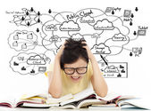 Shouting and painful student girl with cloud computing structure — Foto de Stock