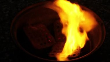 Burning charcoal in fireplace — Stock Video
