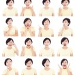 Asian young woman making different facial expressions — Stock Photo #53083253