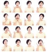 Asian young woman making different facial expressions — Stock Photo