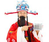 God of wealth pointing a compute machine over white background — Stock Photo