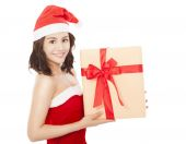 Happy young woman with christmas gift box — Stock Photo