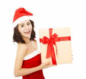 Happy young woman with christmas gift box over white background — Stock Photo