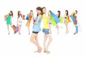 Asian shopping women group holding color bags. — Stock Photo