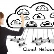 Business woman drawing a  global cloud computing applications — Stock Photo #55757335