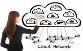 Business woman drawing a  global cloud computing applications — Stock Photo