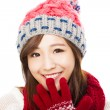 Close up of beautiful asian woman in hat, muffler and mittens. h — Foto de Stock   #56507681