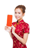 Beautiful young asian woman showing  red bag for lucky — Stock Photo