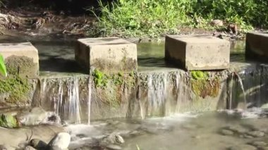 People walking across stones step with flowing water.time lapse — Stock Video