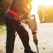 worker with pneumatic hammer drill equipment ready to breaking  — Stock Photo #62830123