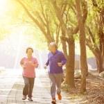 Happy asian Senior Couple Exercising In the Park — Stock Photo #62923907