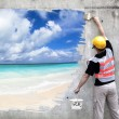 Worker with paint brushes drawing summer beach on the wall — Stock Photo #63620927