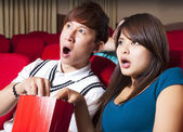 Young couple  watching a movie at the cinema — Stock Photo