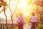 Senior couple on cycle ride in the park — Stock Photo