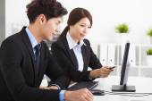 Business people Having Meeting and looking the computer  — Stock Photo