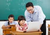 Teacher teaching the computer with children  in classroom — Stock Photo