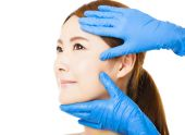 Closeup young   woman face with medical beauty concept — Stock Photo