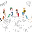 People travel around the world and Global map concept — Foto de Stock   #71128753