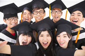 Closeup Group of graduation Friends Smile for Camera  — Stock Photo