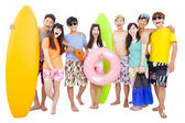 happy young group enjoy summer vacation concept — Stock Photo
